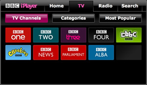 BBC iPlayer - version for large TV screen